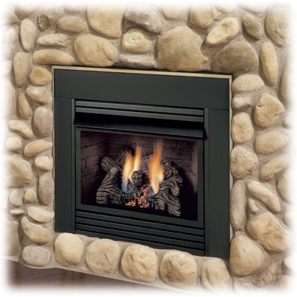 DIS33NVG remote ready Vent-Free Fireplace Insert with new Triple Play Log  Set and automatic blower system. For Small Black Faceplate: $145.00 - DIS33 Monessen