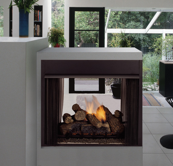 Fireplace free gas log see through vent fireplaces for See thru fireplaces