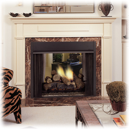 Monessen see through corner and penninsula fireplaces for See thru fireplaces
